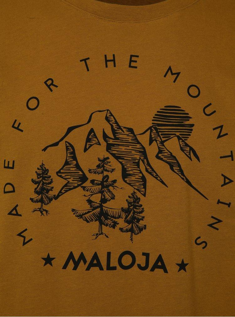 Hořčicové pánské tričko s krátkým rukávem Maloja