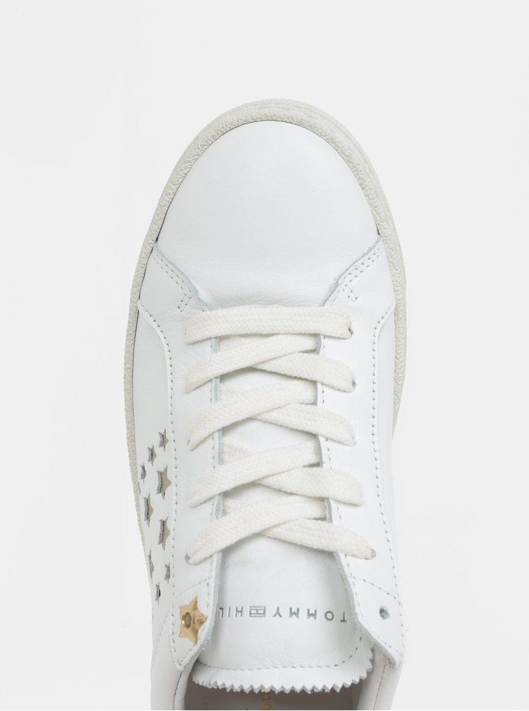 Bílé dámské kožené tenisky s hvězdami Tommy Hilfiger