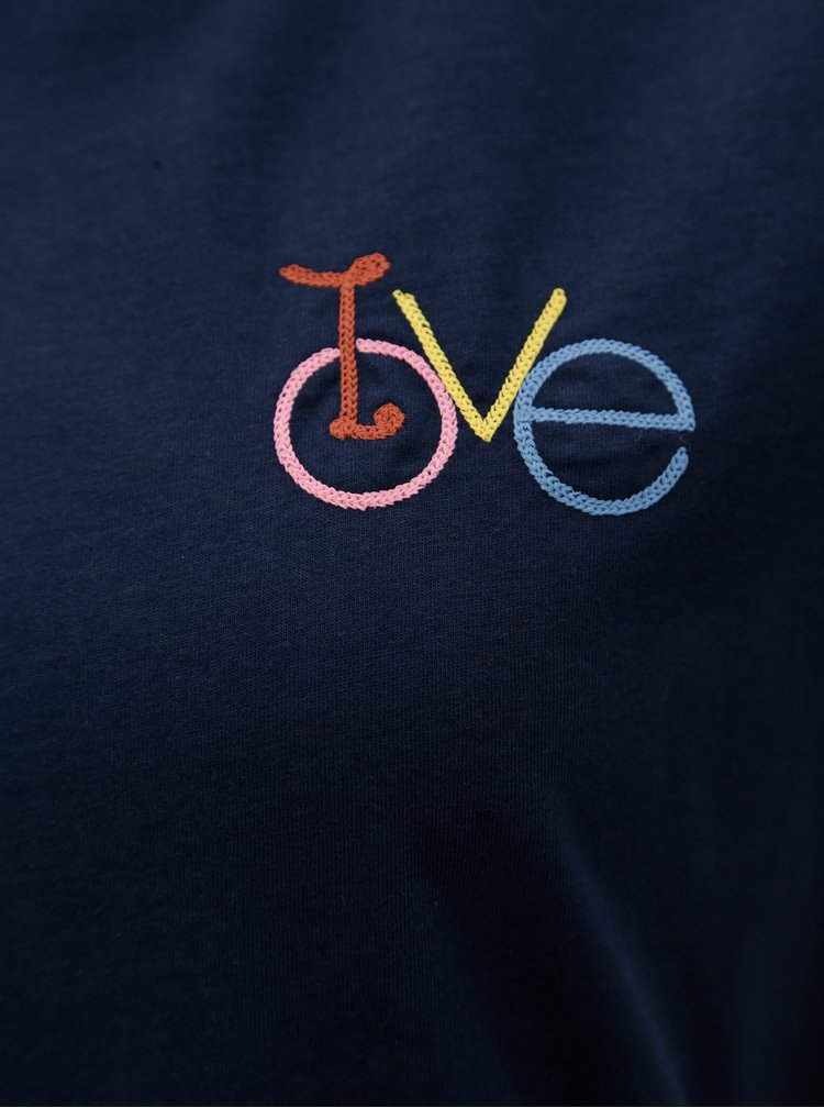 Tmavě modré dámské tričko s výšivkou Maloja