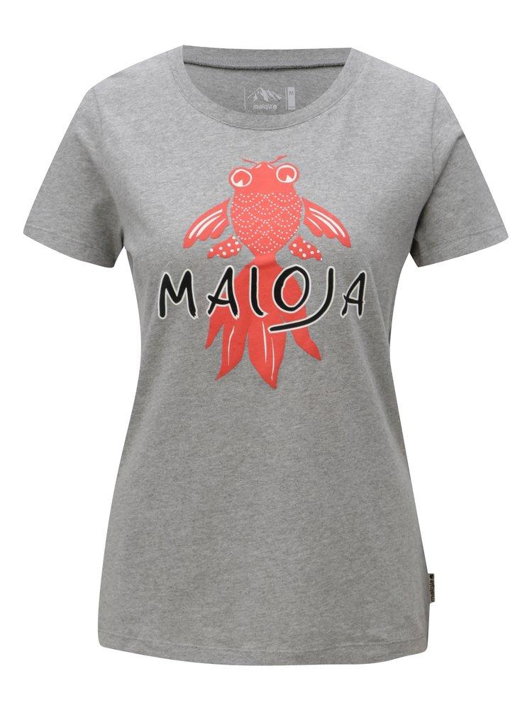 Šedé dámské tričko s krátkým rukávem Maloja