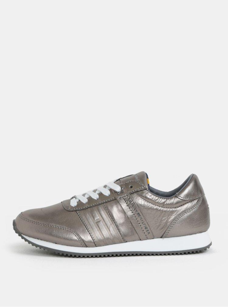 Dámské kožené tenisky ve stříbrné barvě Tommy Hilfiger