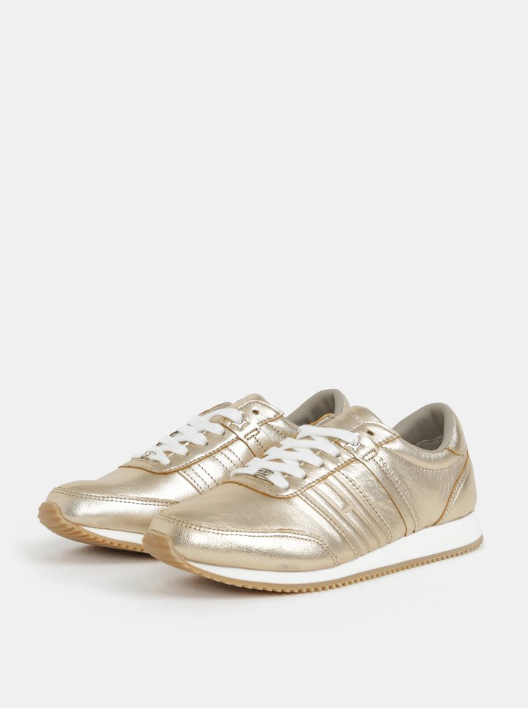 Dámské kožené tenisky ve zlaté barvě Tommy Hilfiger