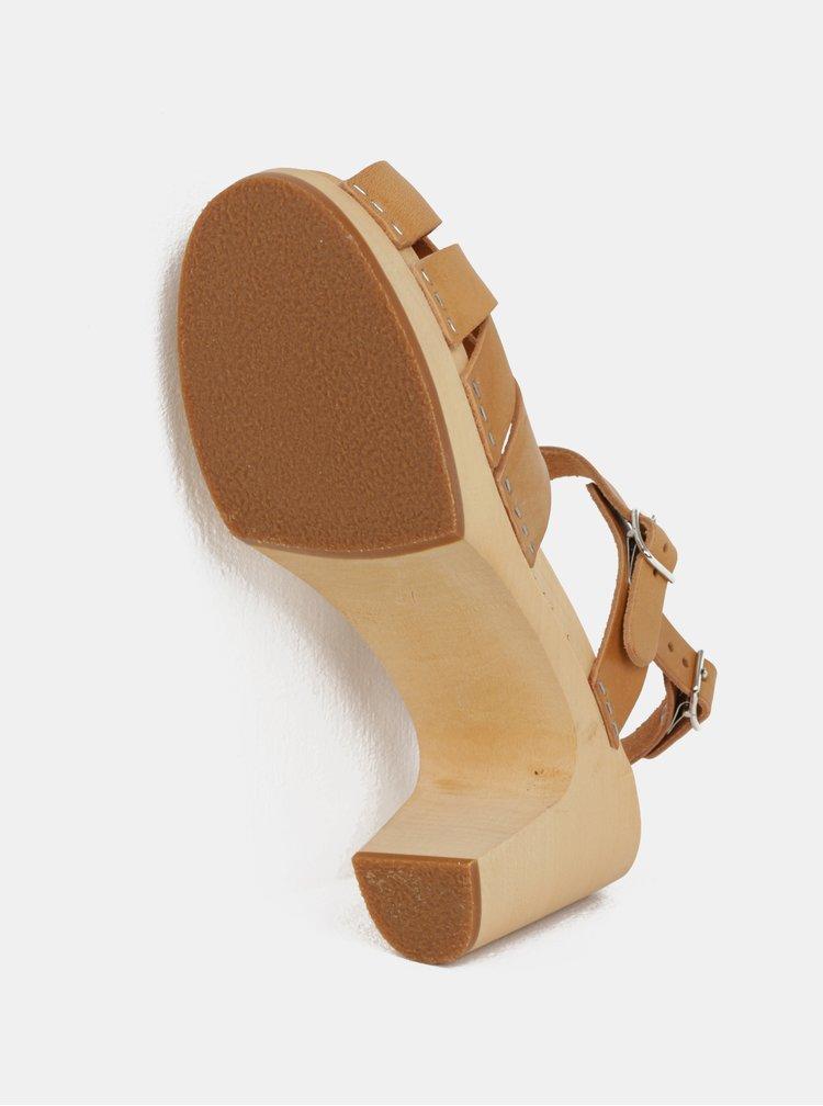 Dřeváky na podpatku s hnědými koženými pásky Swedish Hasbeens Katja