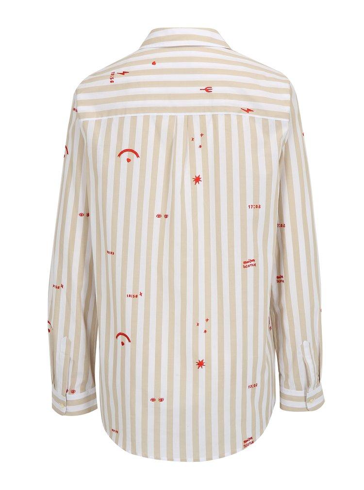 Béžovo-bílá pruhovaná košile s výšivkami Scotch & Soda