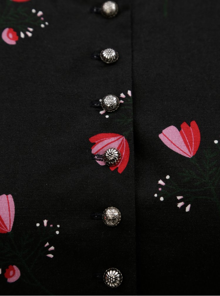Černé vzorované košilové šaty s páskem Maloja