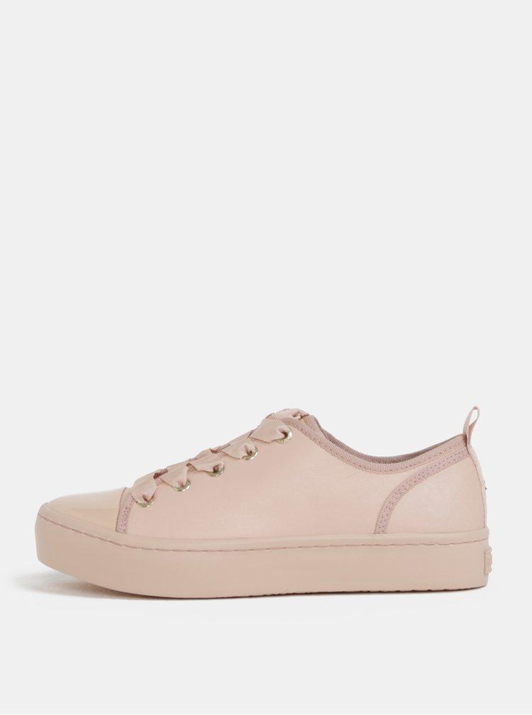 Růžové kožené tenisky Tommy Hilfiger