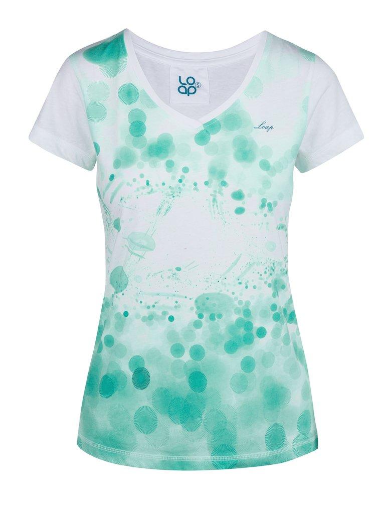 Tricou de dama verde-alb cu print LOAP Byblosa