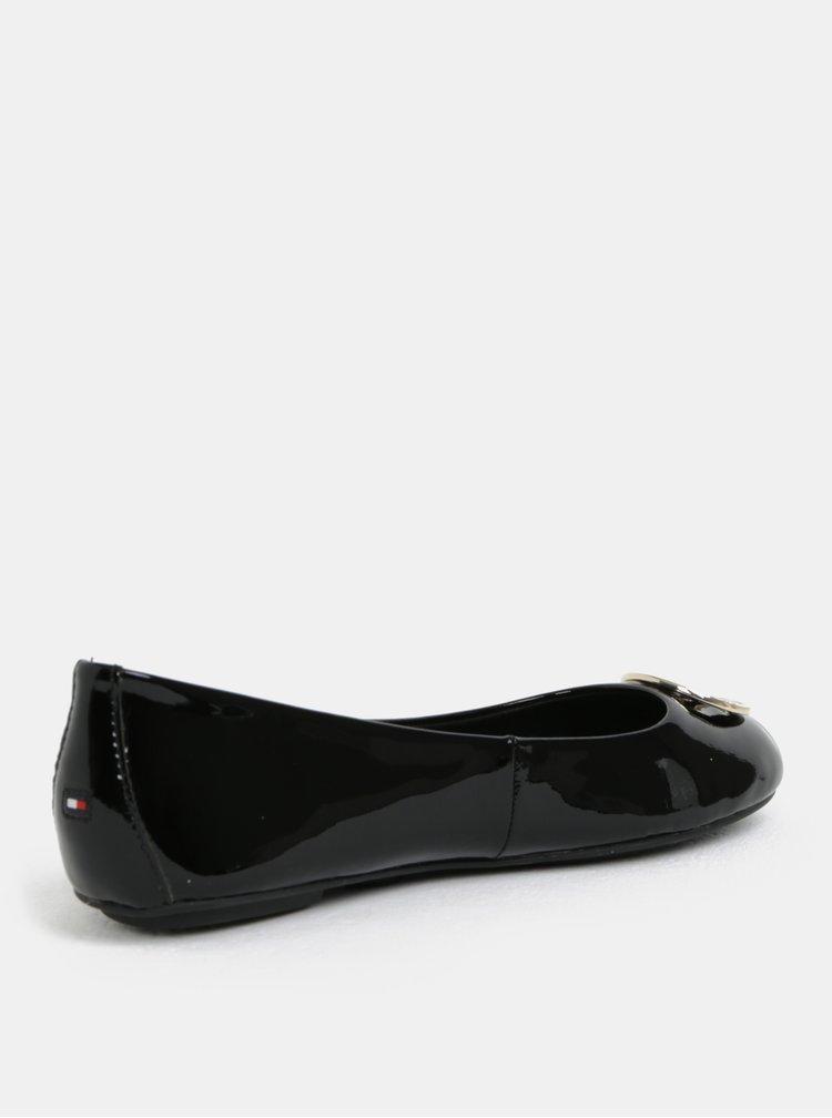 Černé kožené lesklé baleríny Tommy Hilfiger