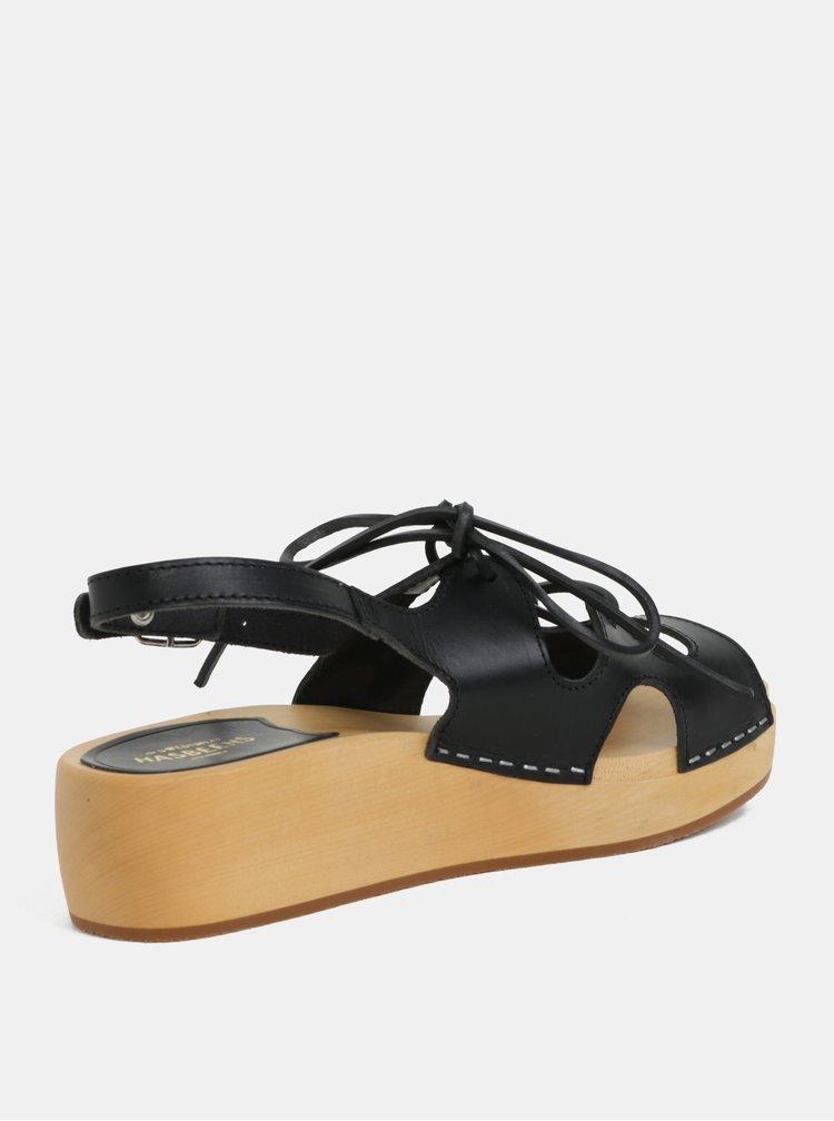 Dřeváky na platformě s černými koženými pásky Swedish Hasbeens Lace Up Sandal