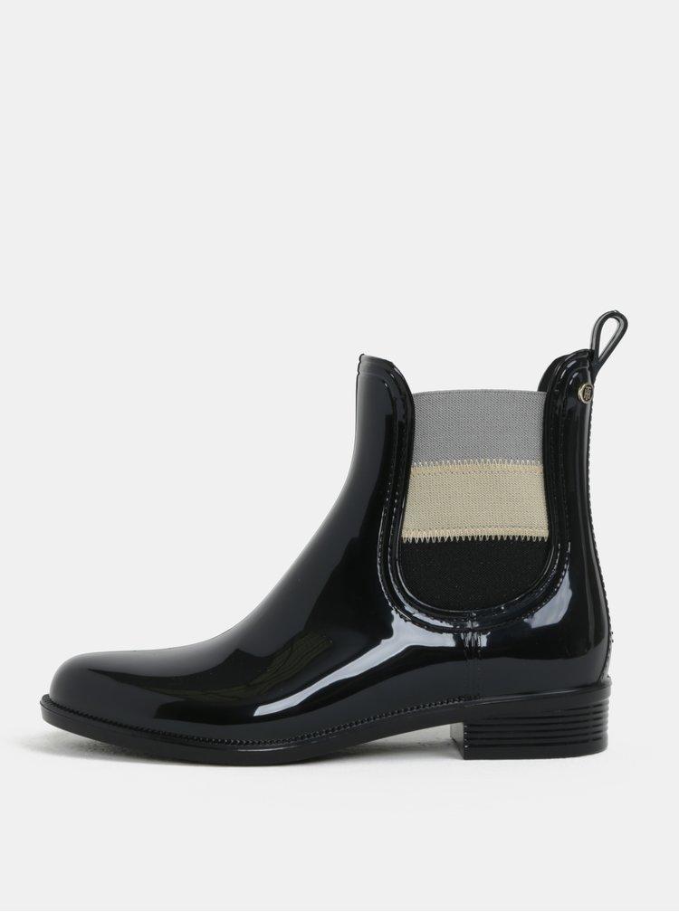 Černé lesklé chelsea boty Tommy Hilfiger