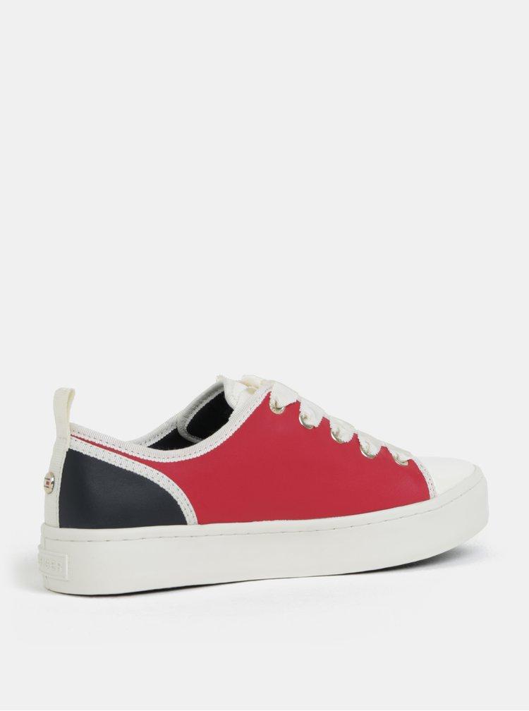 Červeno-modré dámské kožené tenisky Tommy Hilfiger