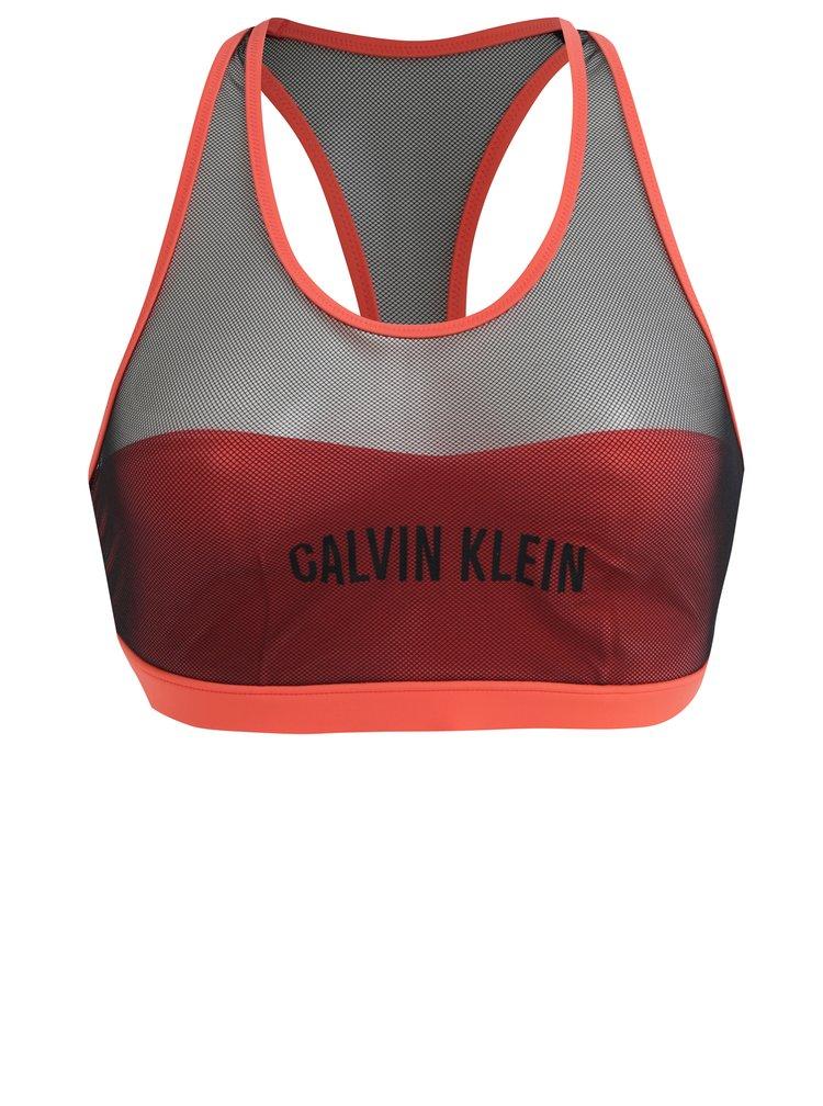 Neonově růžový horní díl plavek Calvin Klein Underwear