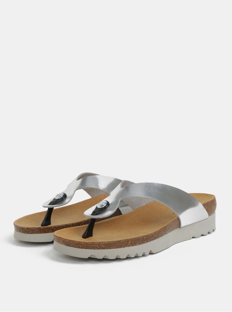 Papuci de dama flip-flop ortopedici argintii cu aspec lucios Scholl Mamore