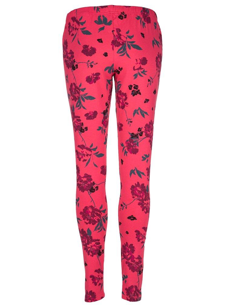 Růžové dámské květované legíny LOAP Baibe