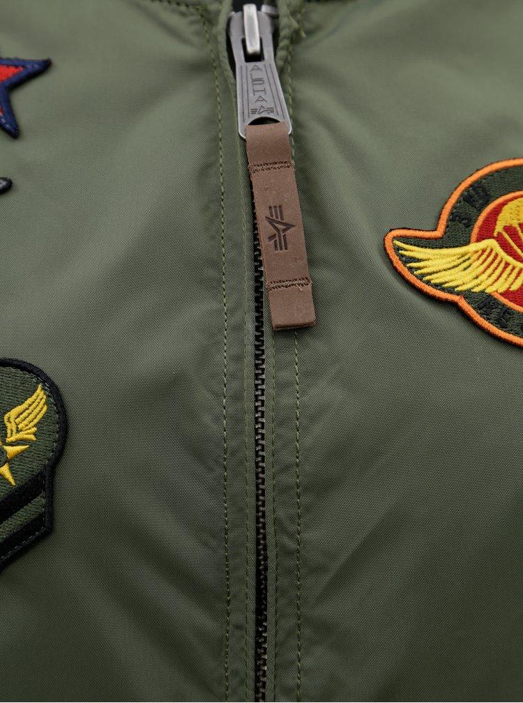 Khaki dámský bomber s nášivkami ALPHA INDUSTRIES