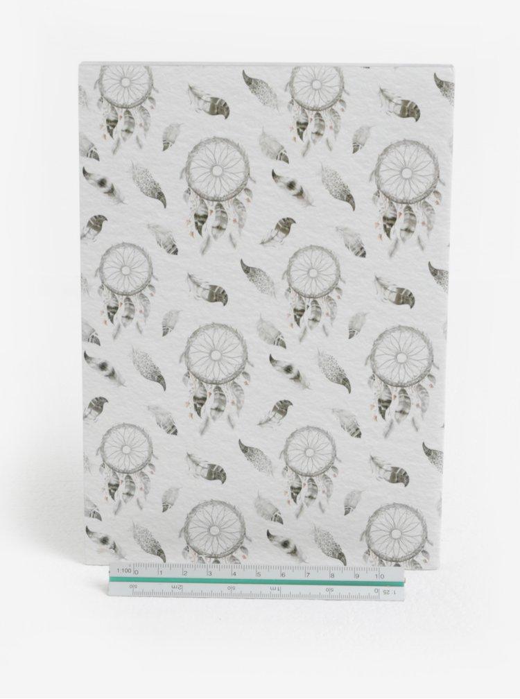 Šedý zápisník s motivem lapače snů SIFCON