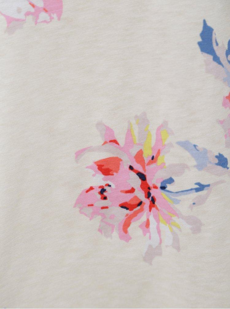 Krémové květované oversize tričko s odhalenými rameny Tom Joule Yoona