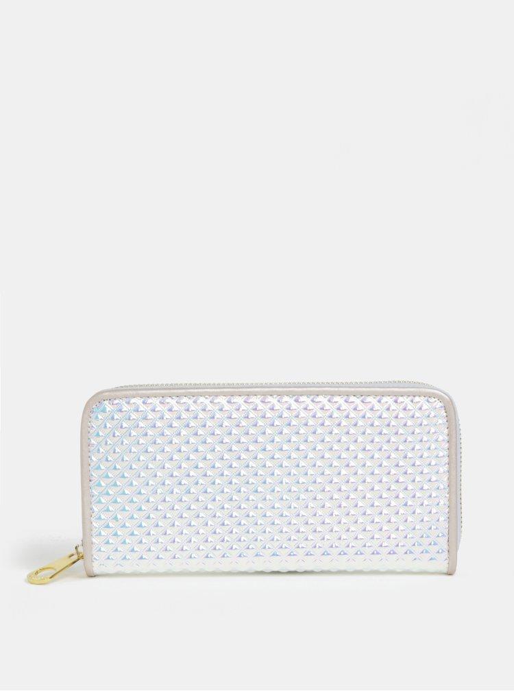 Metalická peněženka ve stříbrné barvě s plastickým vzorem a zipem ve zlaté barvě Anna Smith