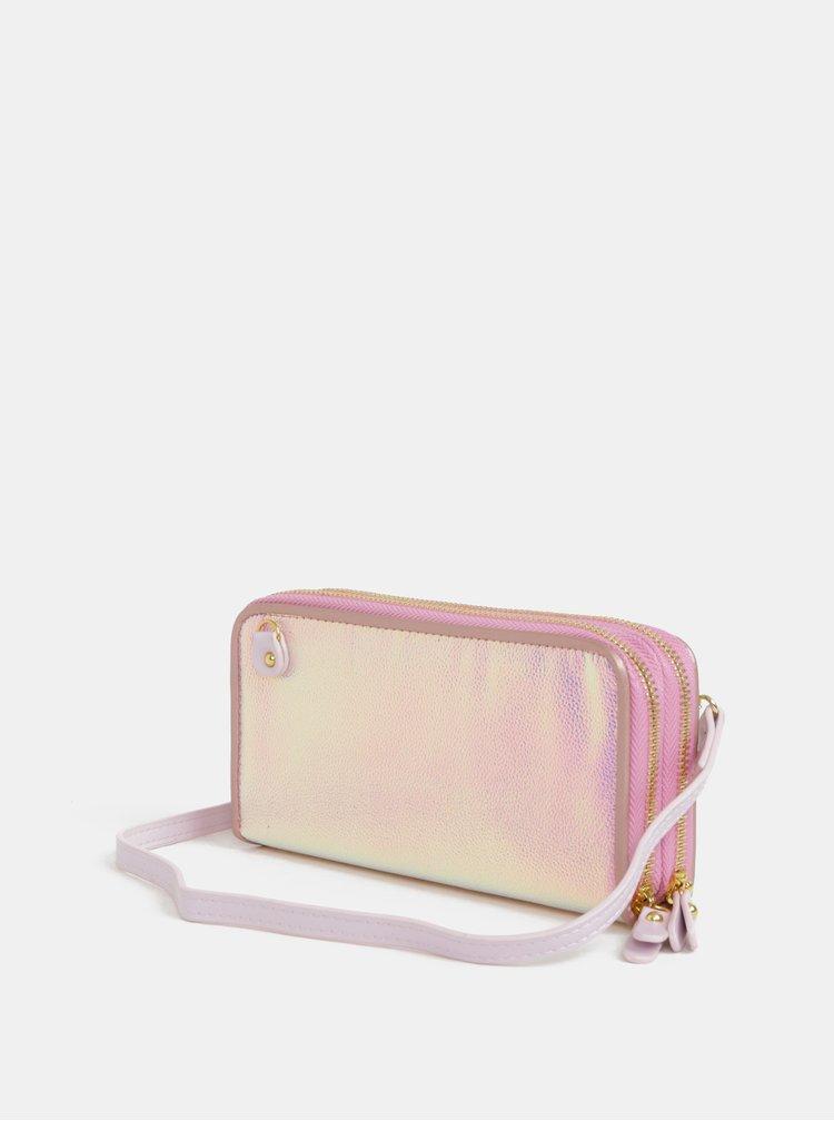 Růžová metalická velká peněženka  Anna Smith