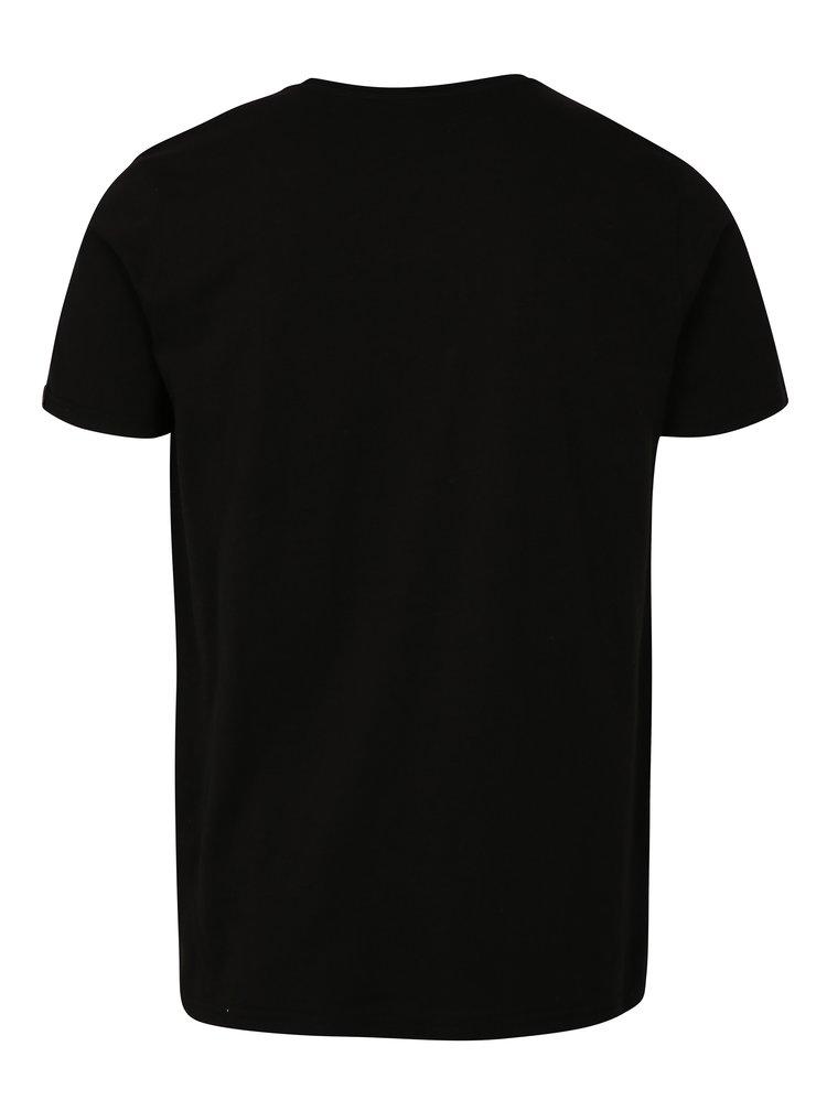 Tricou barbatesc negru cu print ALPHA INDUSTRIES