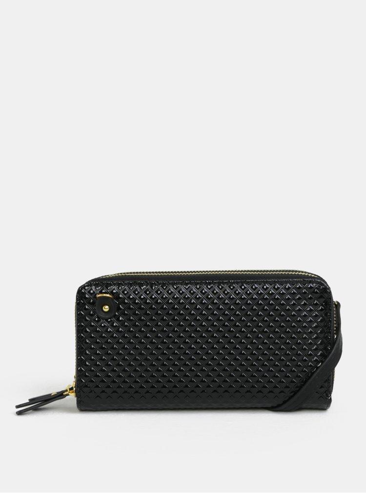 Černá lesklá velká peněženka s plastickým vzorem Anna Smith