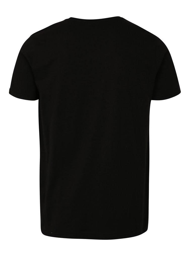 Tricou barbatesc negru cu maneci scurte ALPHA INDUSTRIES