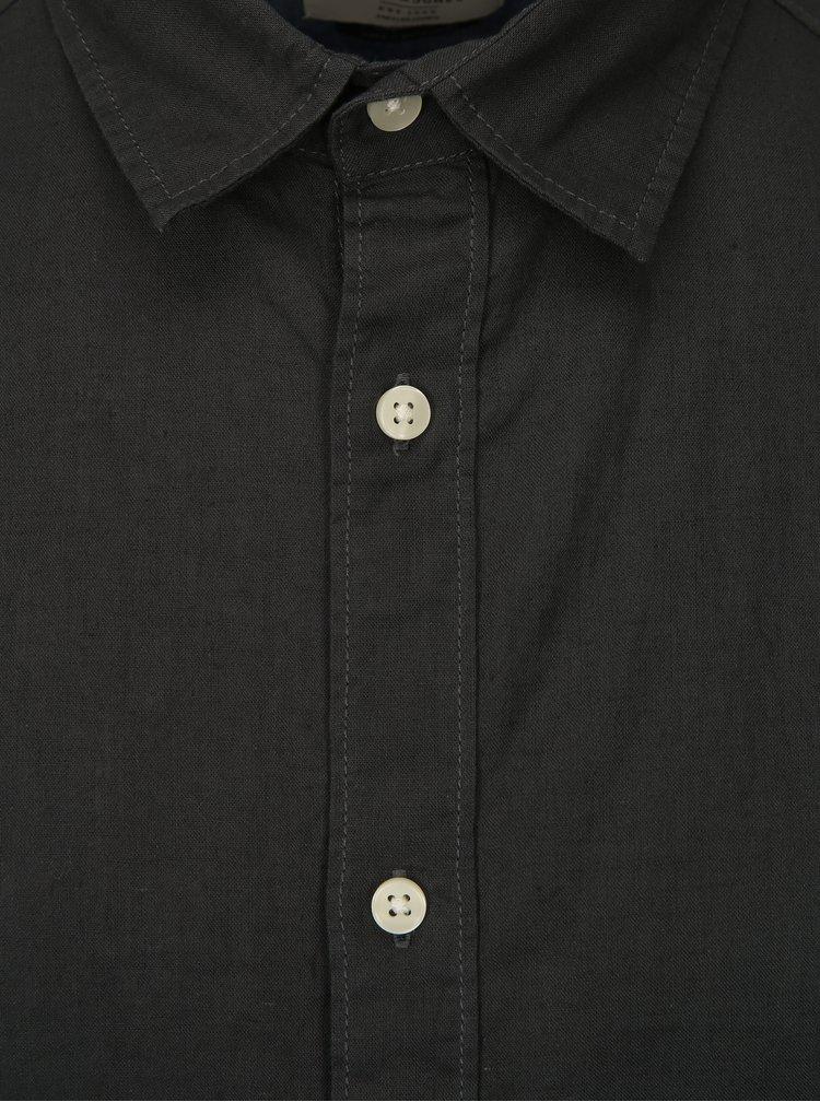 Tmavě zelená lněná košile Jack & Jones New