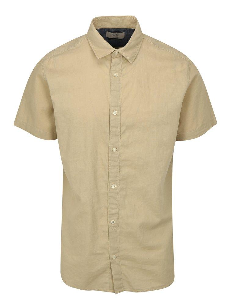 Béžová lněná košile Jack & Jones New