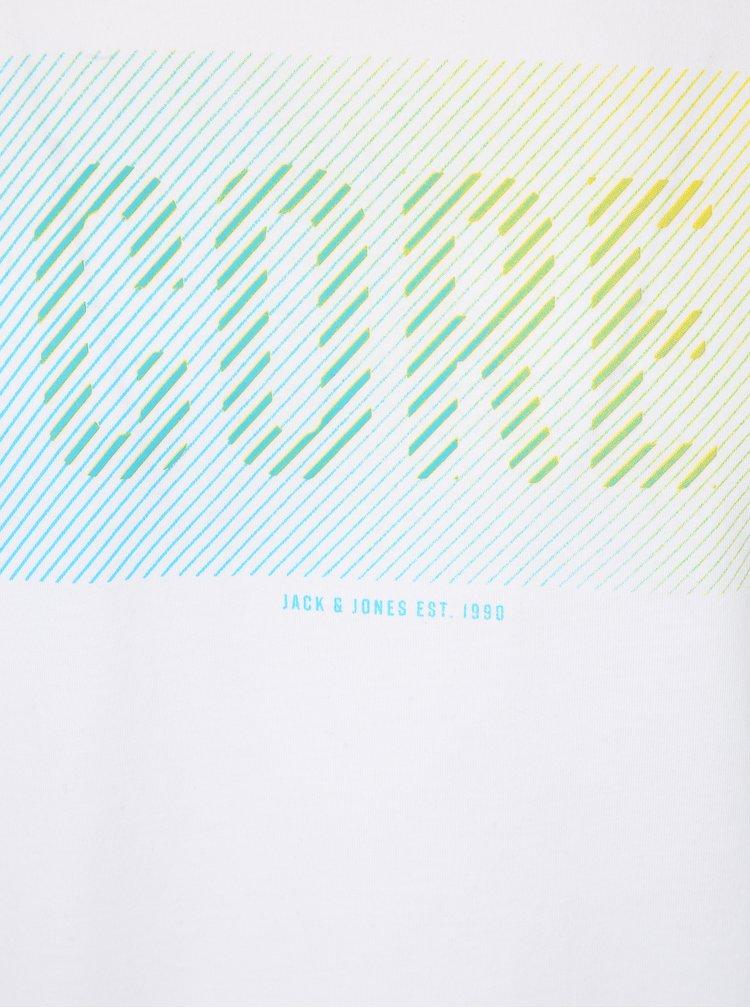 Bílé tričko s potiskem Jack & Jones Flyn