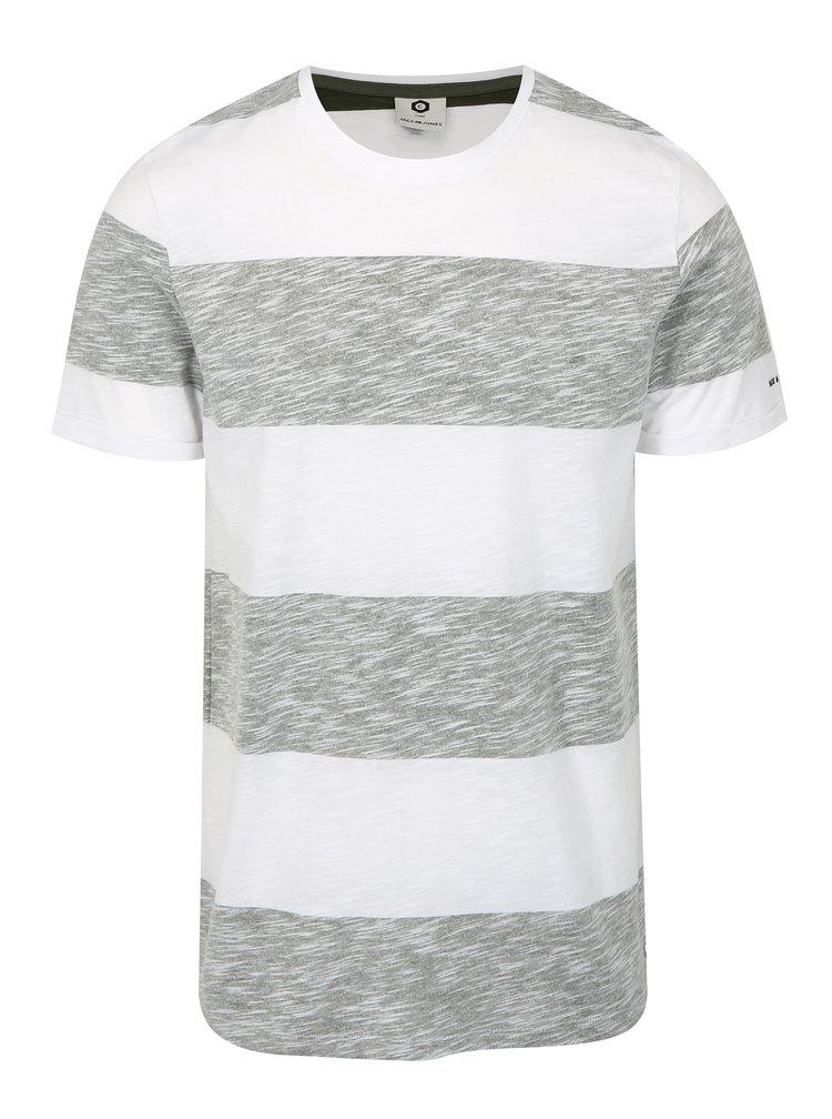 Šedo-bílé pruhované slim fit tričko Jack & Jones Stripy
