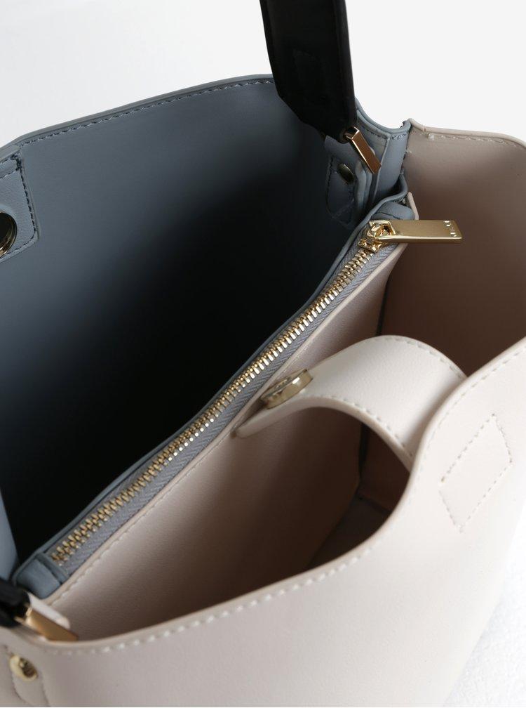 Krémovo-modrá kabelka s detaily ve zlaté barvě Nalí
