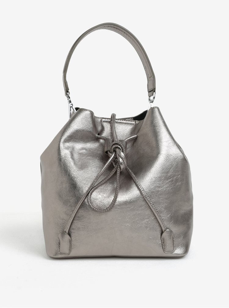 Geanta de mana/rucsac argintiu-metalic cu portfard 2 in 1 Nalí
