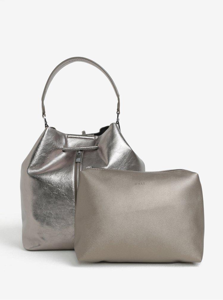 Metalická vaková kabelka/batoh s pouzdrem 2v1 ve stříbrné barvě Nalí