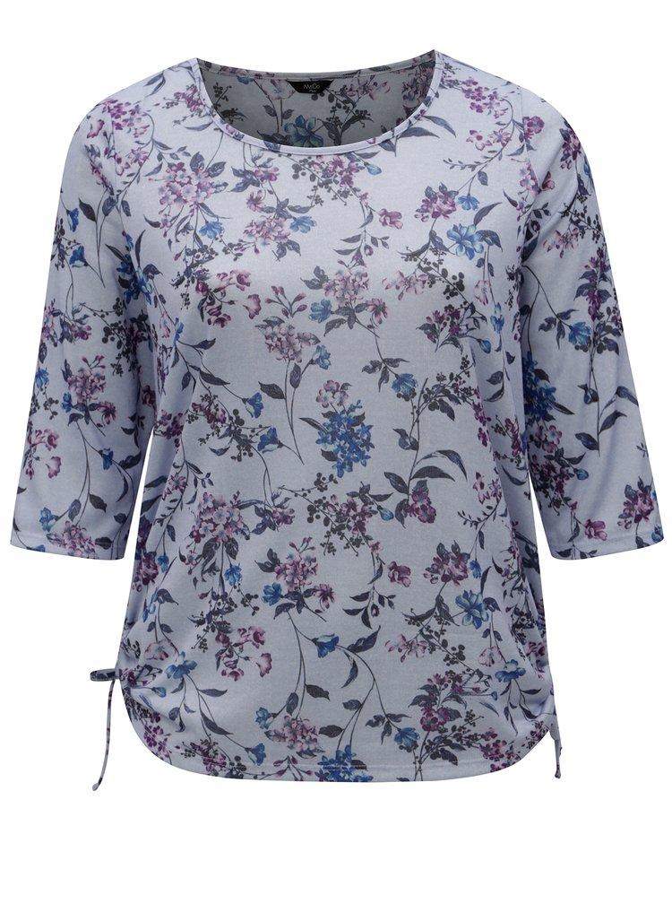 Bluza albastra cu model floral M&Co