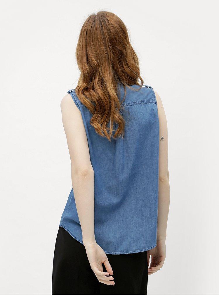 Modrá dámská džínová košile bez rukávů M&Co