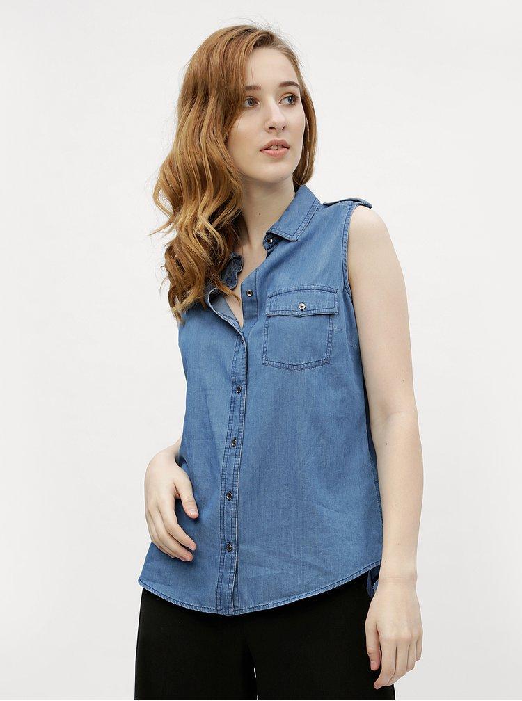 Camasa de dama albastra din denim fara maneci M&Co