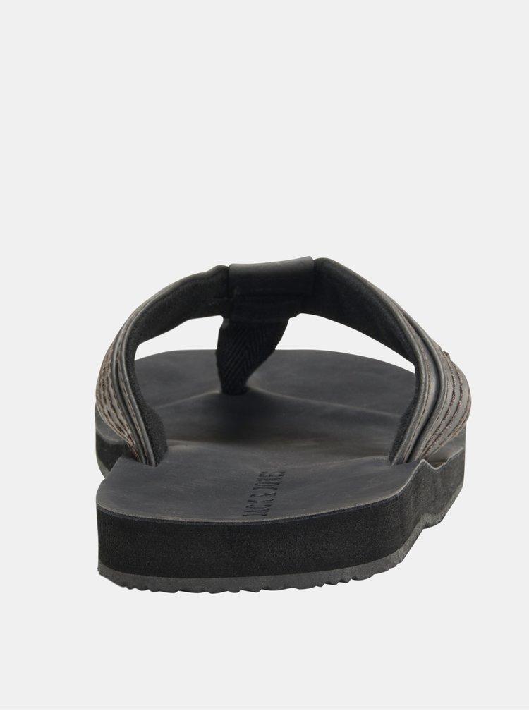Černé pánské kožené žabky Jack & Jones Bob