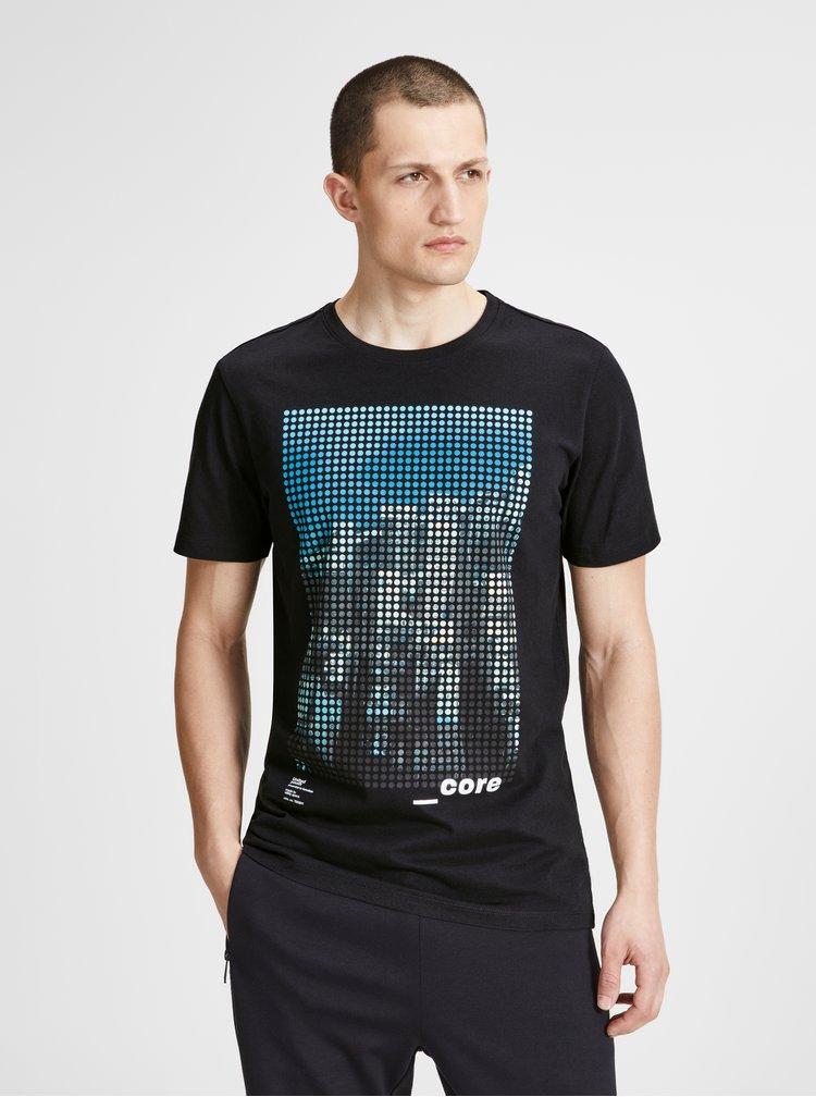 Černé slim fit tričko s potiskem Jack & Jones Burg