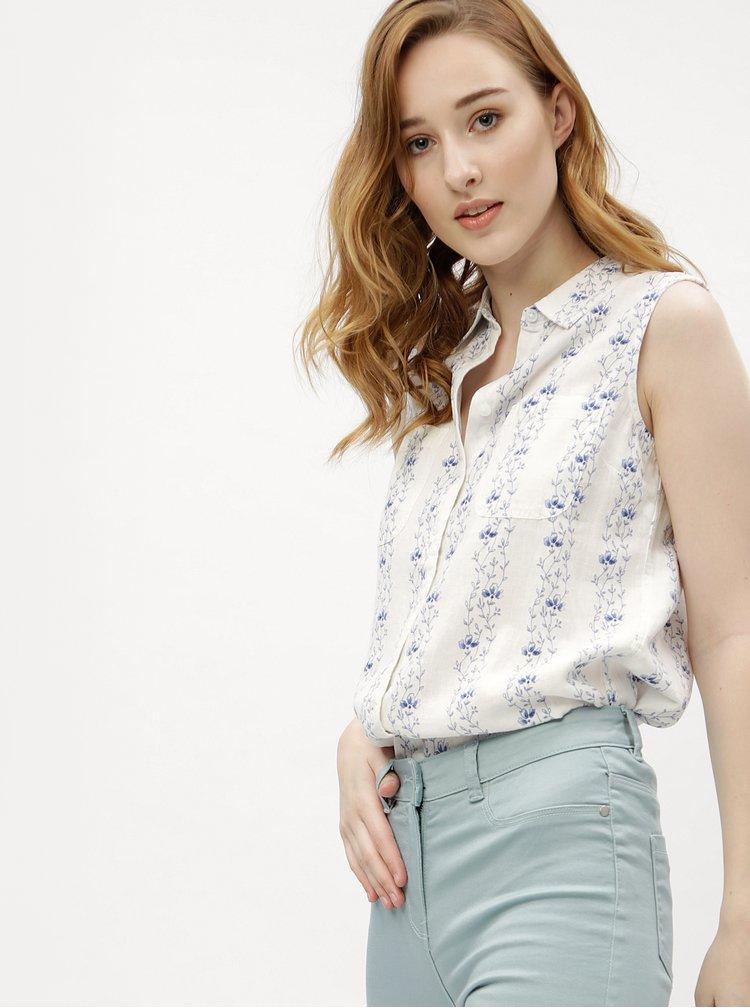 Krémová dámská lněná košile s bez rukávů M&Co