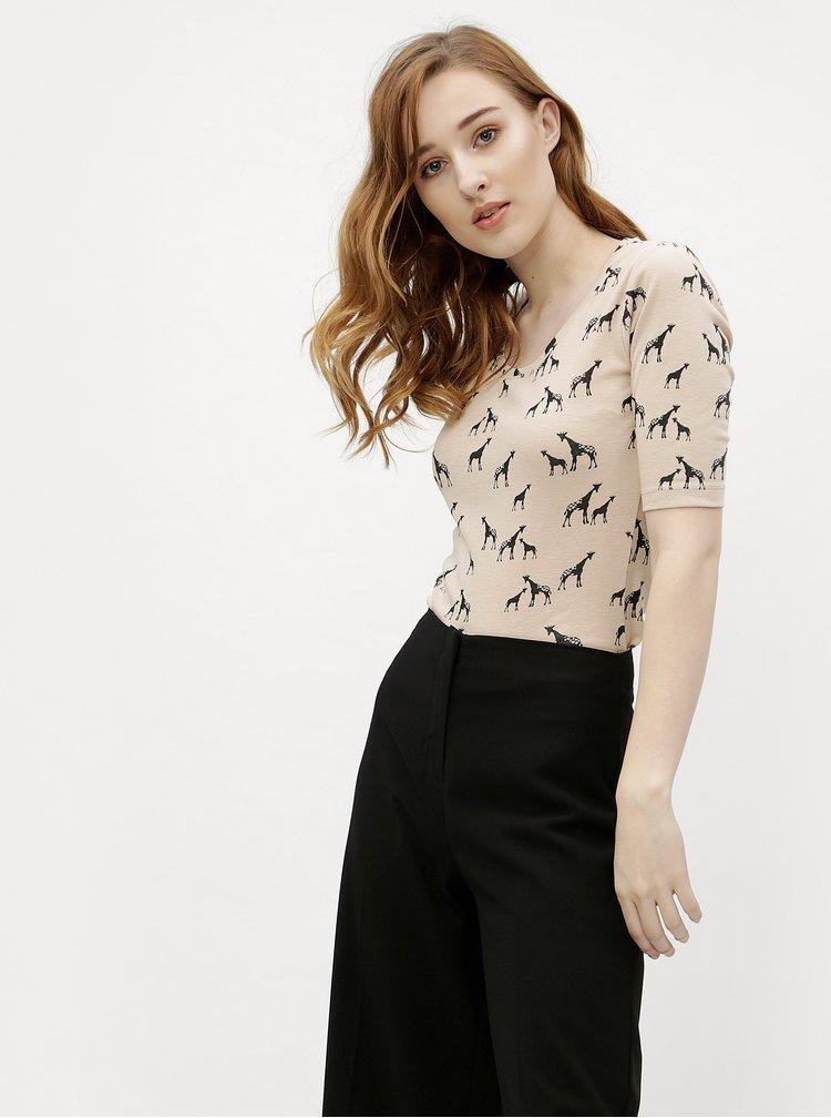 Hnědé vzorované tričko s 3/4 rukávem M&Co