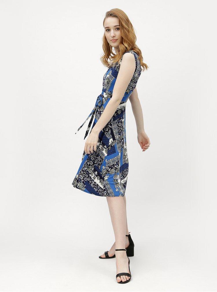 Tmavě modré vzorované šaty s krátkým rukávem M&Co