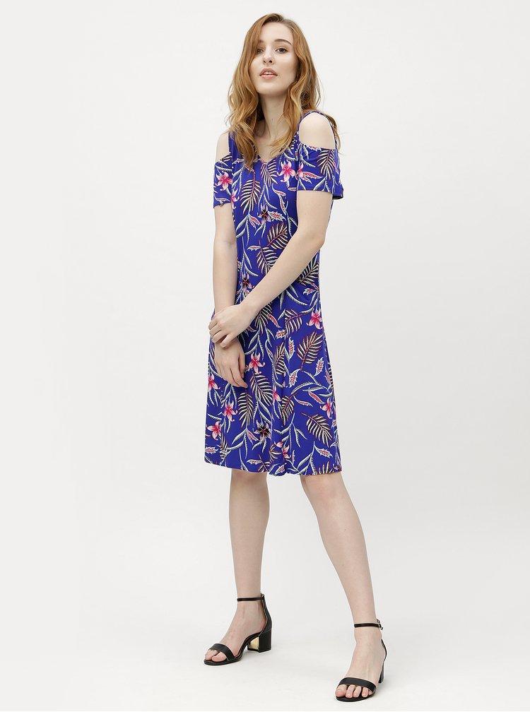 Modré květované šaty s průstřihy na ramenou M&Co