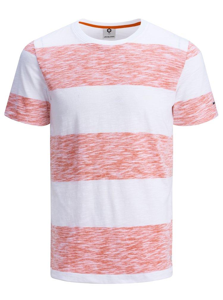 Červeno-bílé pruhované slim fit tričko Jack & Jones Stripy