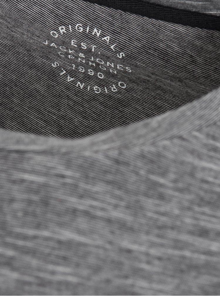 Tmavě šedé žíhané regular fit tričko s potiskem Jack & Jones Feedercity