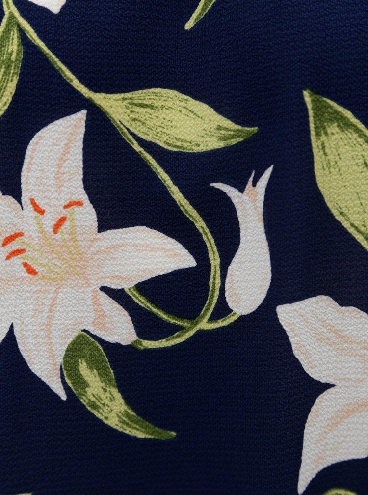 Tmavomodrá kvetovaná blúzka s odhalenými ramenami Dorothy Perkins