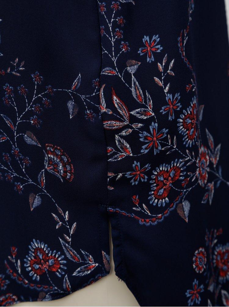 Tmavě modrá květovaná halenka bez rukávů Dorothy Perkins
