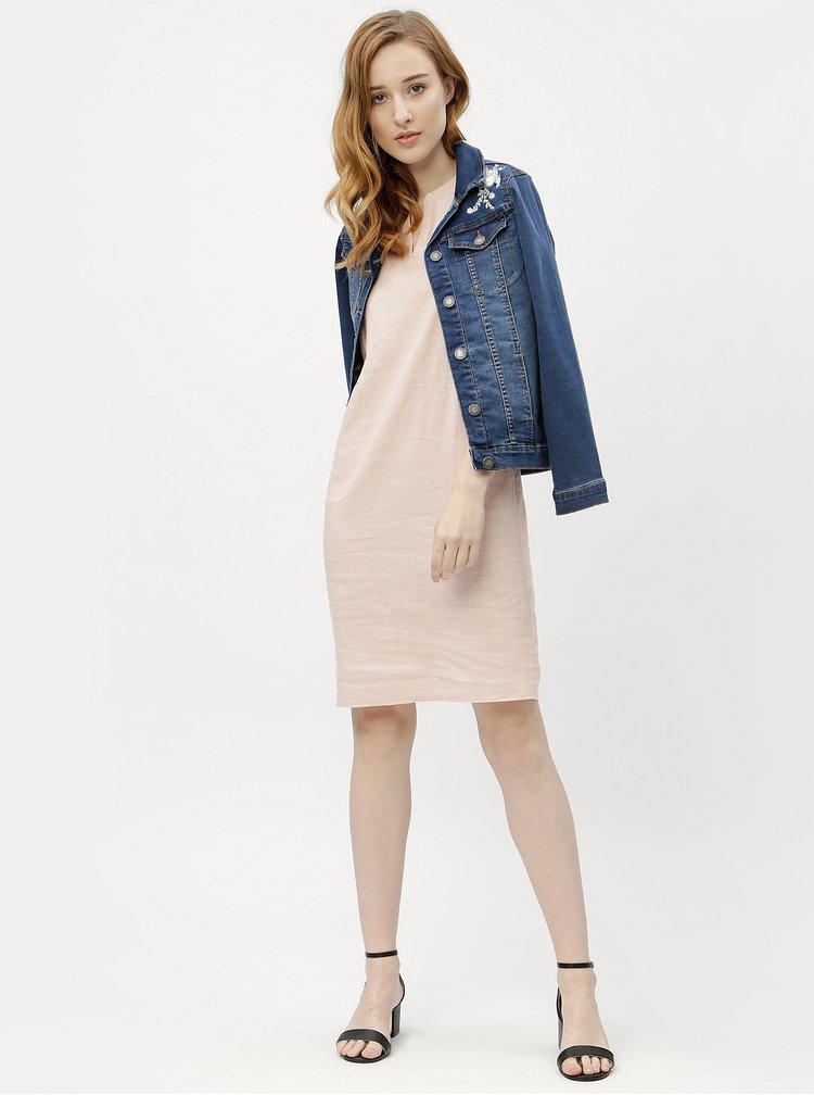 Modrá dámská džínová bunda s květovanou výšivkou M&Co