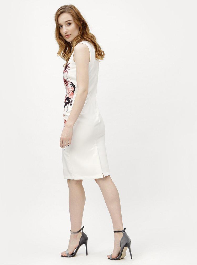 Krémové květované pouzdrové šaty M&Co
