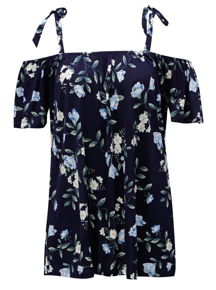 Tmavě modrá květovaná halenka s odhalenými rameny Dorothy Perkins Tall