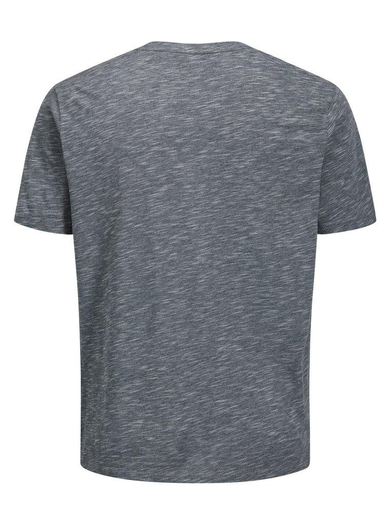 Tmavě modré žíhané regular fit tričko s potiskem Jack & Jones Feedercity